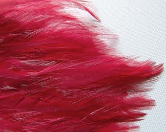 1 RED Feather Pad, Rooster Hackle