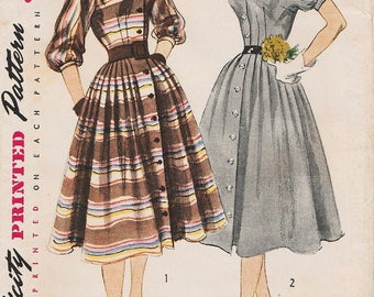 Vintage 1950s Sewing Pattern / Simplicity 3768 / Dress / Size 16 Bust 34