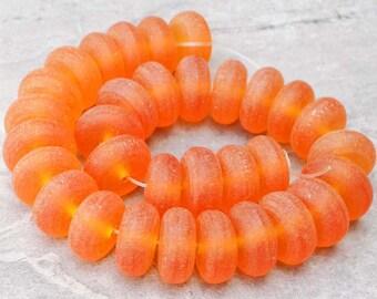 """Orange Indonesian Matte Resin Rondelle Beads ~ 19mm ~ 12"""" strand"""