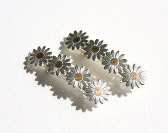 Vintage French Barrette Pair Daisy Flowers Silvertone Goldtone French Hair Clips Hair Clip Silver Floral Like New
