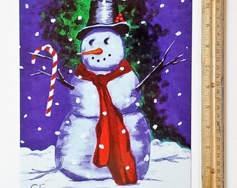 Christmas Decoration Magnet, Secret Santa Gift, Large Refrigerator Magnet Winter Snowman Decor, Holiday Fridge Art Hostess Gifts Party Favor