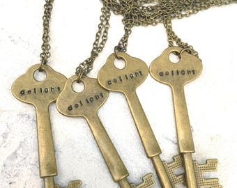Skeleton Key Hand Stamped Necklace-Custom-Personalized