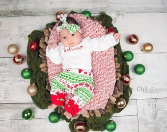 Christmas Outfits for Baby Girls- Believe Fairisle - Christmas Outfits - 3 Piece
