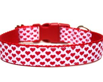 "Valentines Day Dog Collar 3/4"" or 1"" Heart Dog Collar"