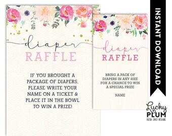 Deer Diaper Raffle / Woodland Diaper Raffle / Bambi Diaper Raffle / Flower Diaper Raffle / Butterfly Garden / Digital Printable FY01 DR01