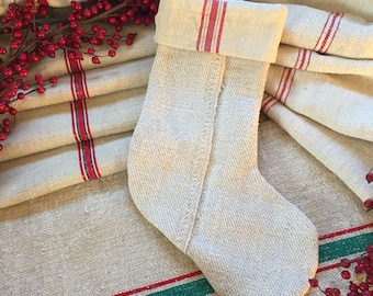 Handmade Antique French Linen Burlap Stocking - Lined - Red Stripe Linen #7