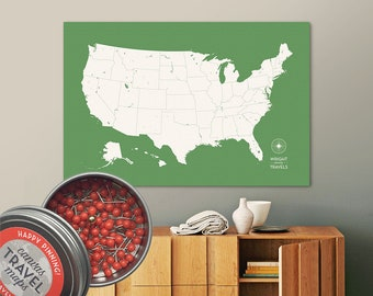 Push Pin USA Map (Leaf) Travel Map Push Pin Map Travel Gift Road Trip Map of the USA on Canvas Personalized Gift For Family Name Sign