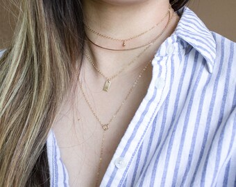Layered Necklace Set • 14k Gold Filled Layered Necklaces • Sterling Silver Minimal Necklaces