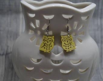 Earrings Owl Yellow