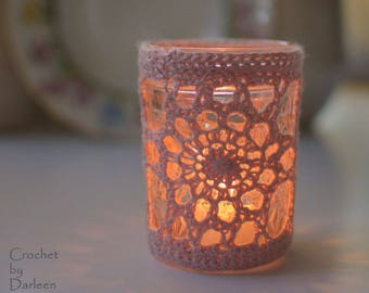Crochet pattern Zinnia Votive crochet pattern lace motif gift candle cozy crochet lace  INSTANT PDF DOWNLOAD jelly jar craft thread knit
