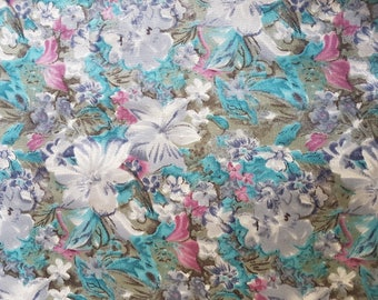 Floral polyester fabric remnant - blue/grey/green/mauve print