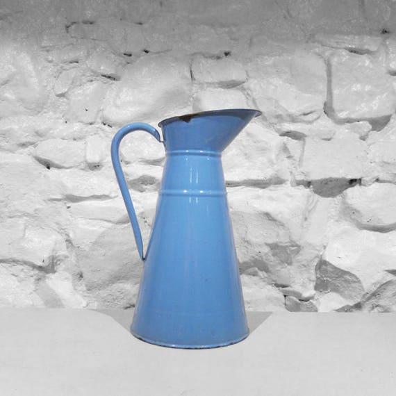 Blue Enamel Metal Jug Large Original French 1950s