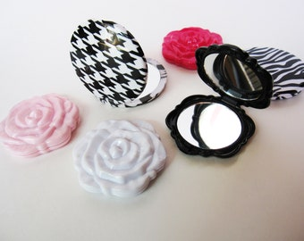 Mirrored compact - rose compact mirror - Purse mirror- double sided mirror - compact mirror - pocket mirror
