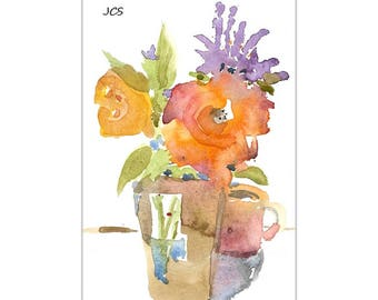 Original Watercolor Painting Impressionistic Still Life Flowers Yellow Orange Violet Bouquet  Rustic Vase Cup