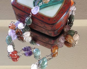 Vintage  Necklace Wire Wrapped Polished Semi-Precious Stones