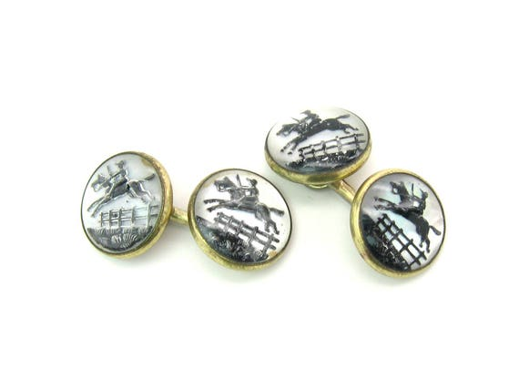 Essex Crystal Cuff Links Mens Art Deco Black & Mother of Pearl Silhouette Jumping Horse Rider Cufflinks Vintage 1920s Reverse Carved Painted