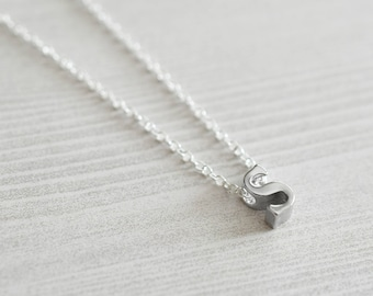 Silver S Initial Necklace | Dainty Letter Necklace | Layering Necklace