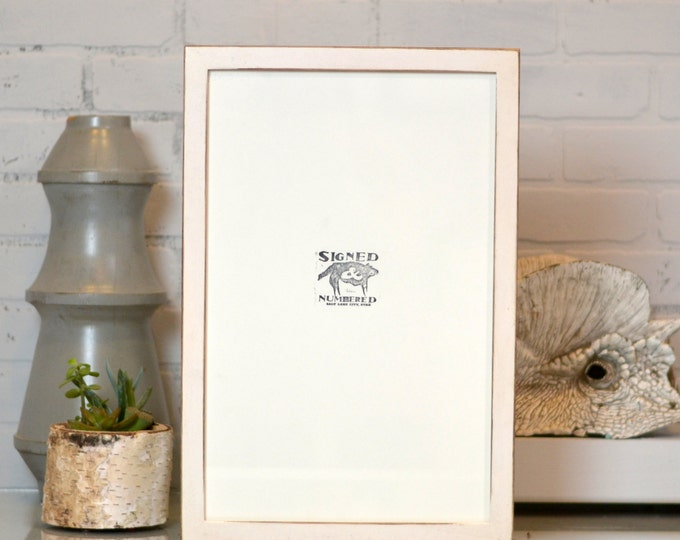 """11x17"""" Picture Frame in 1x1 Flat Style with Vintage White Finish - Handmade 11x17 Frame - Rustic White Wooden Art Frame 11 x 17"""
