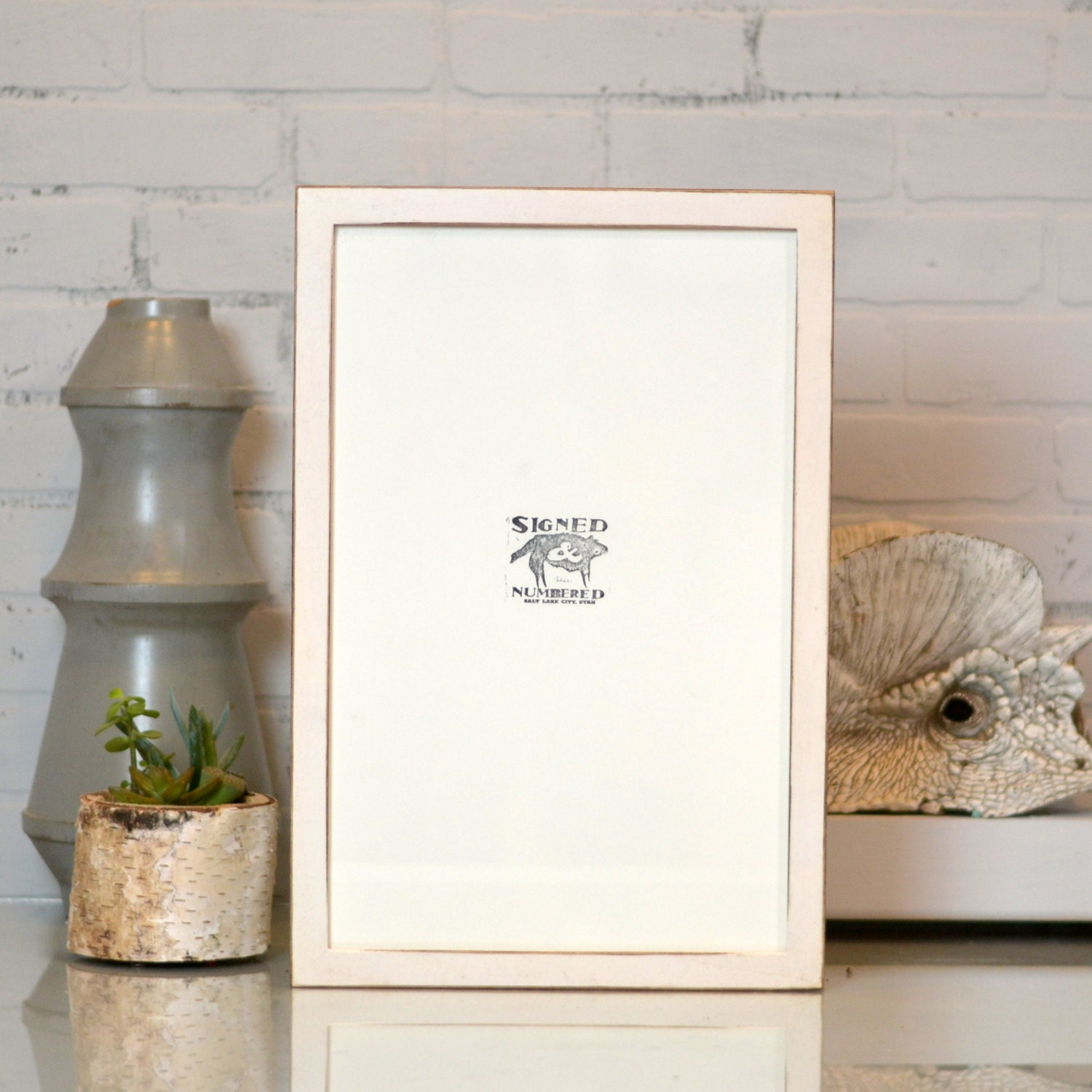 11x17 Picture Frame in 1x1 Flat Style with Vintage White Finish ...
