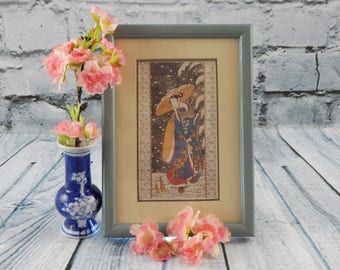 Geisha Girl in Snow, Reproduction Print of Harvesting Bamboo Shoots in Winter