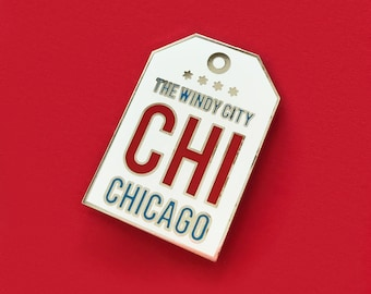 SALE! - Chicago The Windy City Tag Enamel Pin
