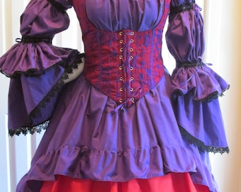 DDNJ Choose Color Burlesque Victorian Style Chemise OverSkirt Renaissance Goth Pirate Victorian Plus Custom Made ANY Size Anime Costume LARP