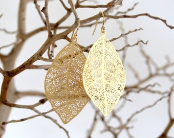 Gold Filigree Leaf Earrings (Silver Available)