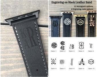 Personalized Apple Watch Band 38mm, Monogram Apple Watch Band 42mm, Leather iWatch Band, Engraved Apple Watch Strap Men, Women, iWatch Strap