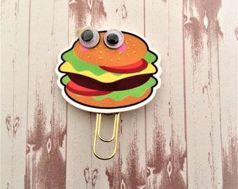 Foodie Planner Clip, Hamburger Planner Clip, Hamburger Googly Eye Planner Clip, Hamburger Paper Clip, Take Out Burger Clip, Burger Clip