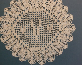 "Custom Crocheted Initial Doily  ""V"""