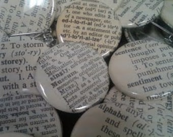 12 Vintage Dictionary Custom Buttons - You Pick the Words