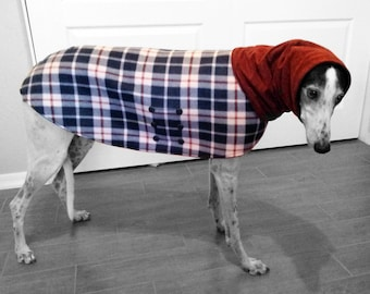 Coat for Greyhound with snood (Small) . Plaid fleece. Navy blue, white and maroon