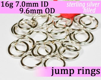 16g 7.0mm ID 9.6mm OD silver filled jump rings -- 16g7.00 jumprings links silverfilled silverfill