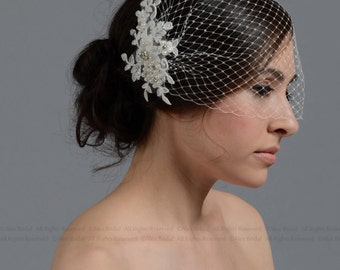 Birdcage Veil, wedding veil, Ivory blusher birdcage veil with alencon lace