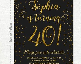 black and gold glitter 40th birthday invitation for women, glitter birthday party invite, cursive gold confetti printable digital file n65