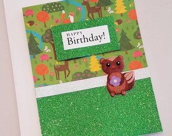 Sparkly Animal Birthday Card / Squirrel / Green Glitter / Birthday Wishes / Note Card / Happy Birthday / Trees / Squirrel / Nature Card