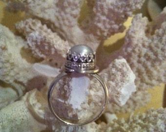 Kronenring in Silber 925 mit Süsswasserperle