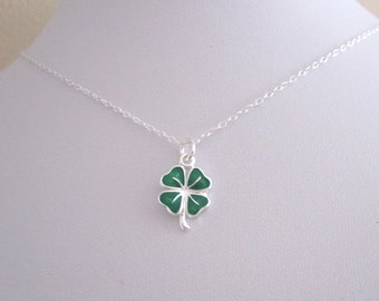 Green enamel four leaf CLOVER sterling silver charm with chain, Good luck necklace