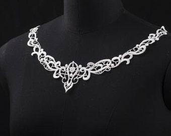 "Lace collar white lace collar necklace lace collar applique by per piece-hu- 9.05""x6.69""(23cm x 17 cm)"