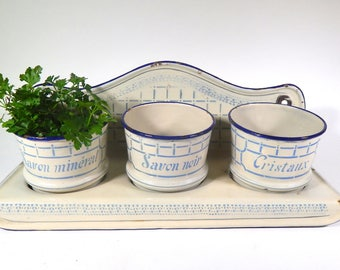 Vintage French Enamelware Rack Laundry Products