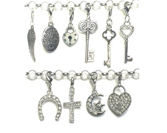 Memory Locket Dangle, SILVER CLIP CHARM for Personalized Floating Charm Locket Pendant, Clip-on Angel Wing, Key, Family Tree and More.