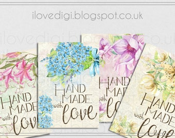 Digital printable Handmade with love tags, very romantic,  flowers, shop tags, product labels,