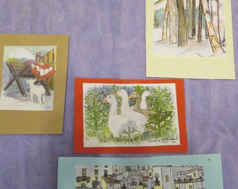 SET of 4 Hand-Painted Pictures, Card-Making, Framing (#957)