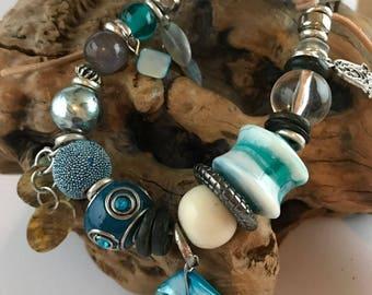 Brume de mer - bracelet Bohème, bracelet en cuir, bracelets Bohème pour femme, bracelet Boho, bracelet ethnique