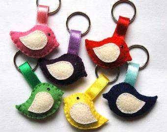 Felt bird keychains - set of 6 - handmande felt animals - key holder - wool felt - eco friendly