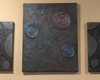 Galaxy  textured acrylic painting - 3 pieces