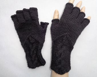 Hand-knitted black color gloves with half fingers, Gloves & Mittens, Gift Ideas, Grey gloves, Christmas gift, Arm warmers