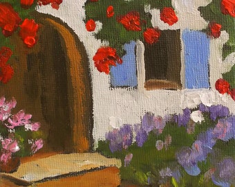 Miniature Painting 4x4 Impressionist Plein Air Provence Garden Landscape Lavender Bougainvillea Lynne French Art
