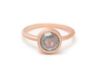 Labradorite in Rose Gold Gemstone Ring - Rose Gold Ring - Gemstone Ring - Sizes 4.5, 5, 5.5, 6, 6.5, 7, 7.5, 8, 8.5, 9, 9.5 and 10