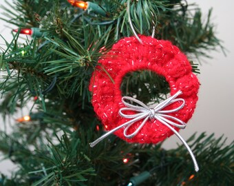 Crochet Christmas Ornament, Sparkly Red Wreath with Silver Cord Ribbon